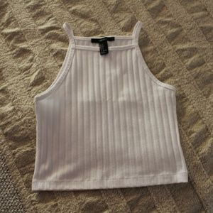 White Ribbed Cropped Tank